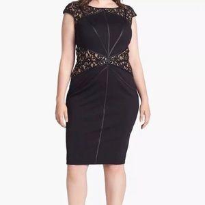 Tadashi Shoji Black White Lace Leather Dress XL